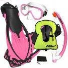 PROMATE Snorkeling Mask Dry Snorkel Fins Gear Set With Snorkel Vest Jacket Pink