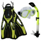 NEW Lady Dive Snorkeling Mask Dry Snorkel Fins Gear Set Yellow