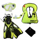 Junior Snorkel Vest Snorkeling Diving Mask Snorkel Fins Youth Child Kid Gear Set Yellow