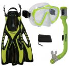 PROMATE Junior Boy Girl Snorkeling Scuba Diving Mask DRY Snorkel Fins Gear Set Yellow