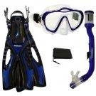 PROMATE Junior Boy Girl Snorkeling Scuba Diving Mask DRY Snorkel Fins Gear Set Blue