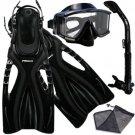 Panoramic Purge Dive Mask Dry Snorkel Fins Gear Bag Set