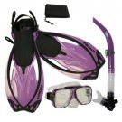 Snorkeling Scuba Dive Gear Mask Snorkel Fins Package Set with Mesh Carrying Bag