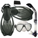 Promate Fish Eyes Mask Dry Snorkel Fins Diving Gear Set Clear with Black Fin Black