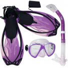 Promate Fish Eyes Mask Dry Snorkel Fins Diving Gear Set Clear with Black Fin Purple