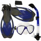 Promate Fish Eyes Mask Dry Snorkel Fins Diving Gear Set Clear with Black Fin Blue