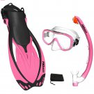 PROMATE Snorkeling Mask Fins Dry Snorkel Mesh Bag Dive Gear Set Package Gift Pink