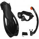 PROMATE Snorkeling Mask Fins Dry Snorkel Mesh Bag Dive Gear Set Package Gift Black