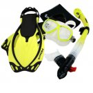 Snorkeling Dive Mask Goggle Dry Snorkel Fins Flippers Bag Sports Gear Set Yellow