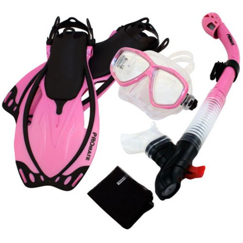 Snorkeling Dive Mask Goggle Dry Snorkel Fins Flippers Bag Sports Gear Set Pink