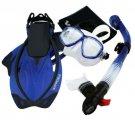 Snorkeling Dive Mask Goggle Dry Snorkel Fins Flippers Bag Sports Gear Set Blue
