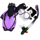 Snorkeling Dive Mask Goggle Dry Snorkel Fins Flippers Bag Sports Gear Set Purple