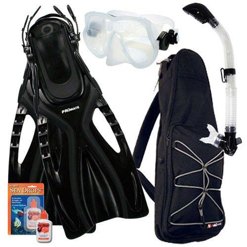 Snorkeling Mask Dry Snorkel Fins Bag Dive Gear Pkg Set