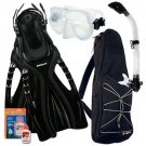 Snorkeling Mask Dry Snorkel Fins Bag Dive Gear Pkg Set