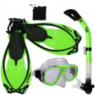 Adult Snorkeling Dive Gear Mask Dry Snorkel Fins Mesh Bag Package Sets Green