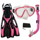 PROMATE Junior Snorkeling Scuba Diving Mask Snorkel Fins Mesh Bag Gear Set Pink