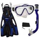PROMATE Junior Snorkeling Scuba Diving Mask Snorkel Fins Mesh Bag Gear Set Blue