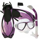 NEW Snorkeling Purge Mask Dry Snorkel Fins Dive Gear Bag Package Set Purple
