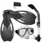NEW Snorkeling Purge Mask Dry Snorkel Fins Dive Gear Bag Package Set Titanium