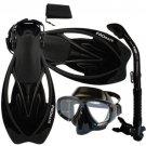 NEW Snorkeling Purge Mask Dry Snorkel Fins Dive Gear Bag Package Set Black/Black