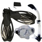 NEW Snorkeling Purge Mask Dry Snorkel Fins Dive Gear Bag Package Set Clear with Black