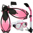 NEW Snorkeling Purge Mask Dry Snorkel Fins Dive Gear Bag Package Set Pink