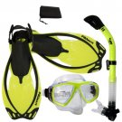 NEW Snorkeling Purge Mask Dry Snorkel Fins Dive Gear Bag Package Set Yellow