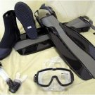 NEW Scuba Dive Mask Snorkel Boots Fins Gear Set Package