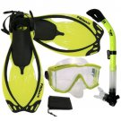 NEW Panoramic Purge Mask Dry Snorkel Fins Dive Gear Set Yellow