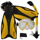 PROMATE Deluxe Snorkeling Diving Gear Mask Fins Set Yellow