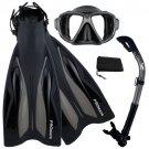 PROMATE Deluxe Snorkeling Diving Gear Mask Fins Set Black/Black