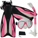 PROMATE Deluxe Snorkeling Diving Gear Mask Fins Set Pink