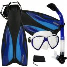 PROMATE Deluxe Snorkeling Diving Gear Mask Fins Set Blue