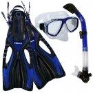 Dive Snorkeling Purge Mask Dry Snorkel Fins Gear Set Blue