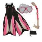 Dive Snorkeling Purge Mask Dry Snorkel Fins Gear Set Pink