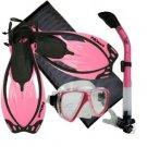 Snorkeling Scuba Dive Mask Dry Snorkel Fin Bag Gear Set Pink