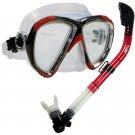 NEW Scuba Diving Matrix Mask Dry Snorkel Snorkeling Set Red