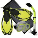 Snorkeling Scuba Dive Mask Dry Snorkel Fin Bag Gear Set Yellow