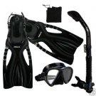 Adult Snorkeling Dive Mask Dry Snorkel Fins Gear Set Black