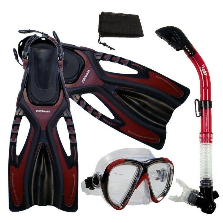 Adult Snorkeling Dive Mask Dry Snorkel Fins Gear Set Red