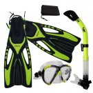 Adult Snorkeling Dive Mask Dry Snorkel Fins Gear Set Yellow