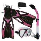 Adult Snorkeling Dive Mask Dry Snorkel Fins Gear Set Pink