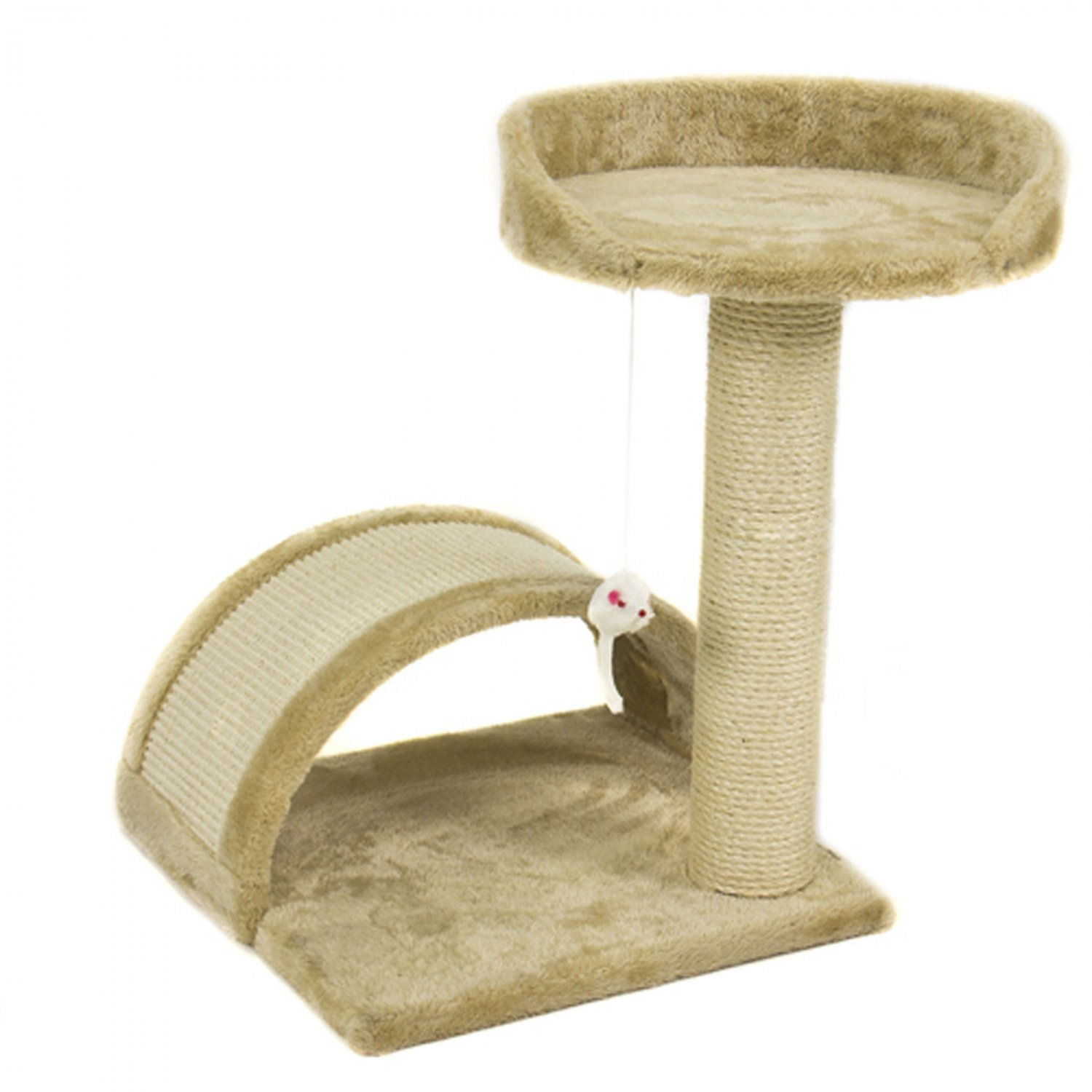New Cat Tree Post Scratcher Furniture Play House Pet Bed Kitten Toy Beige