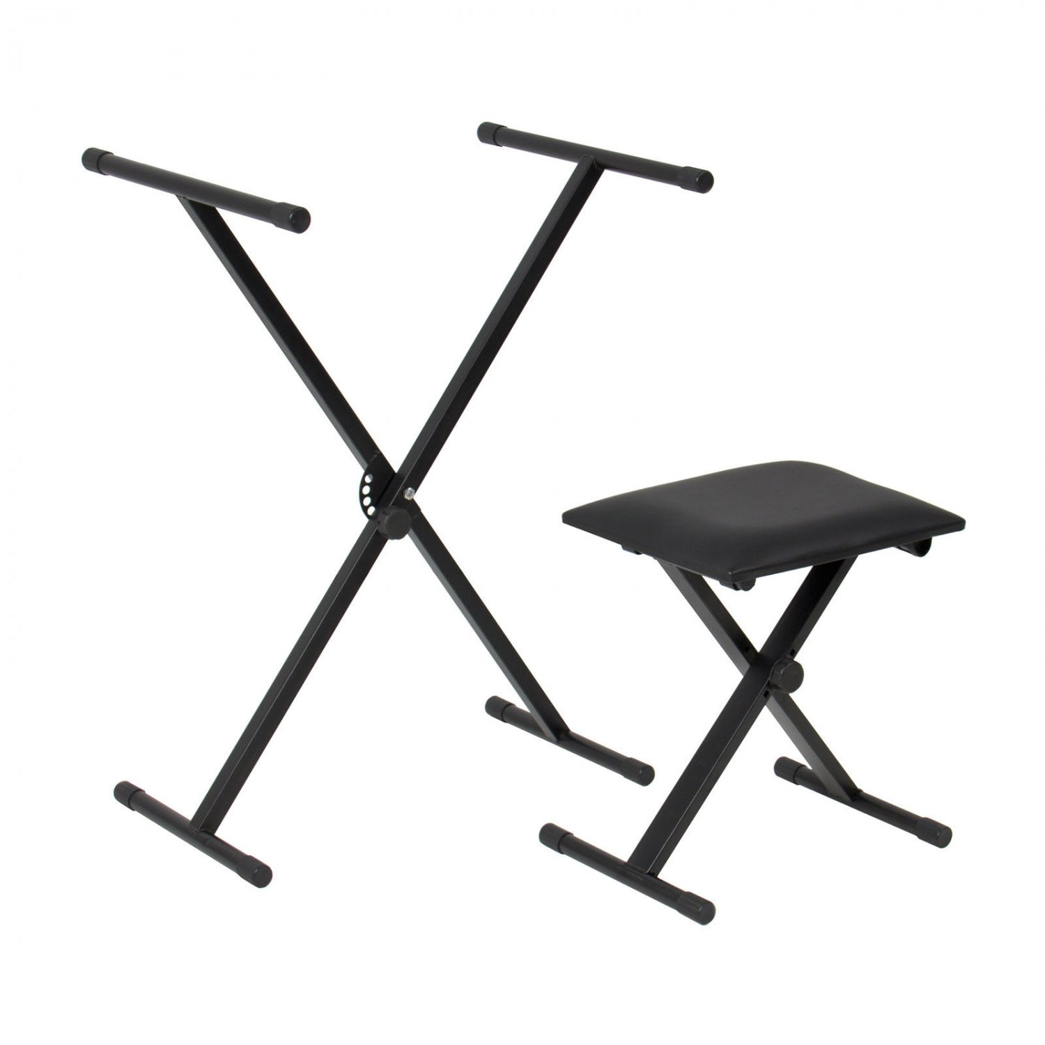 X Keyboard Stand & Padded Piano Bench Adjustable Leather Folding Seat 2 in 1