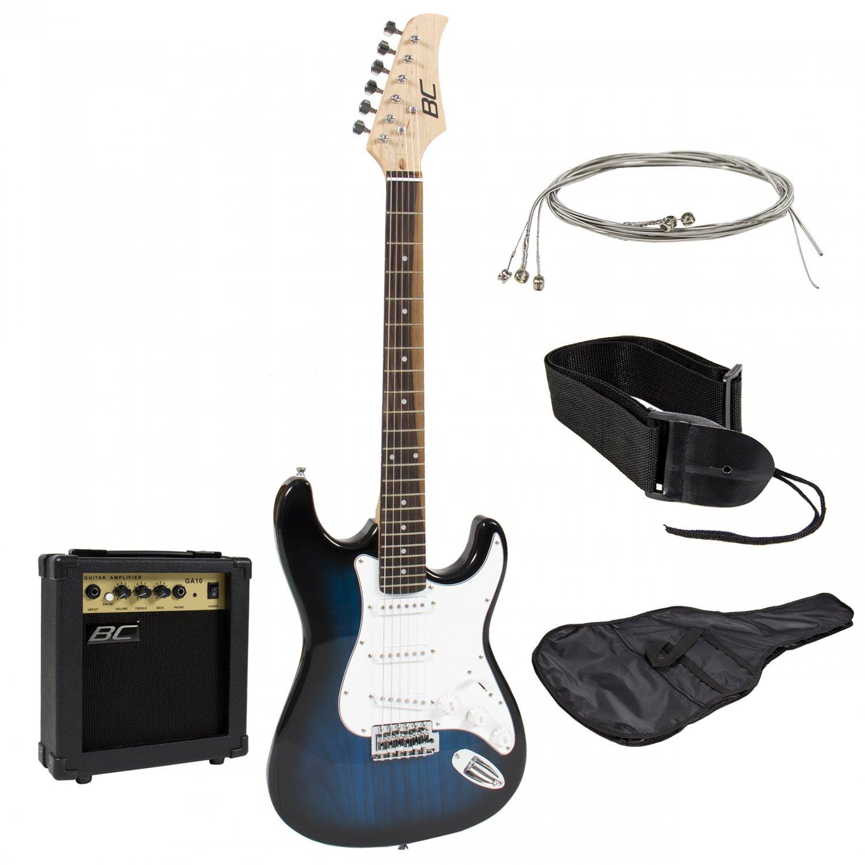Full Size Electric Guitar + 10 Watt Amp + Gig Bag Case + Guitar Strap Beginners Blue