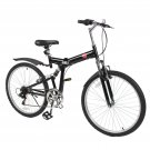 "26"" Folding Mountain Bicycle 6 Speed Shimano Foldable Bike Black Color"