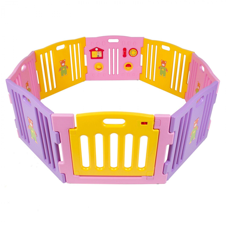 Baby Playpen Kids 8 Panel Safety Play Center Yard Home Indoor Outdoor Pink Girls