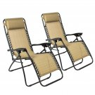 New Zero Gravity Chairs Case Of (2) Tan Lounge Patio Chairs Outdoor Yard Beach