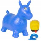 Kids Blue Horse Hopper, Inflatable Jumping Horse Ride-on Bouncy Pump Included