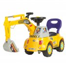 Ride on Excavator Digger Scooter Pulling Cart Pretend Play Construction Truck